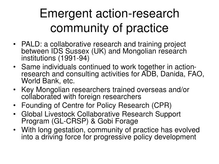 Emergent action research community of practice