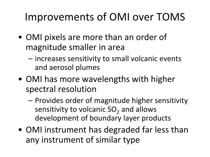 Improvements of OMI over TOMS