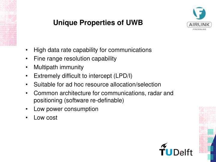 Unique Properties of UWB