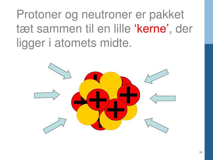 Protoner og neutroner er pakket tæt sammen til en lille
