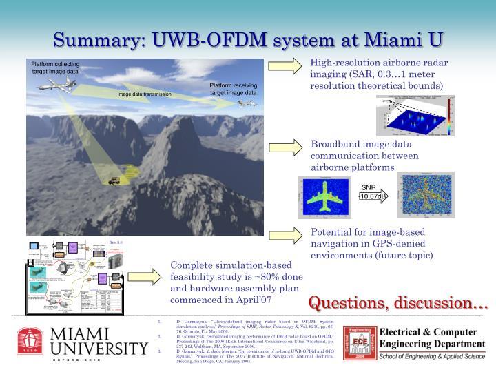 Summary: UWB-OFDM system at Miami U