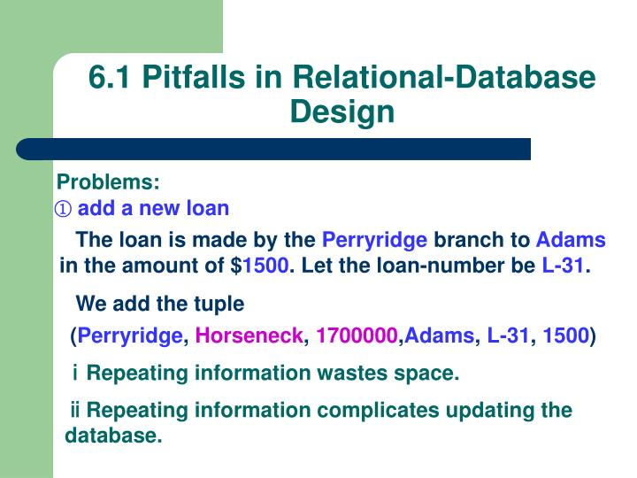 6.1 Pitfalls in Relational-Database Design