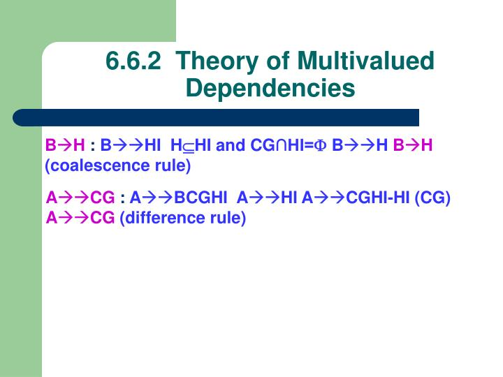 6.6.2  Theory of Multivalued Dependencies