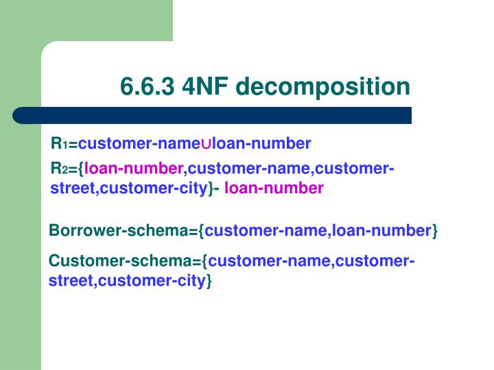 6.6.3 4NF decomposition