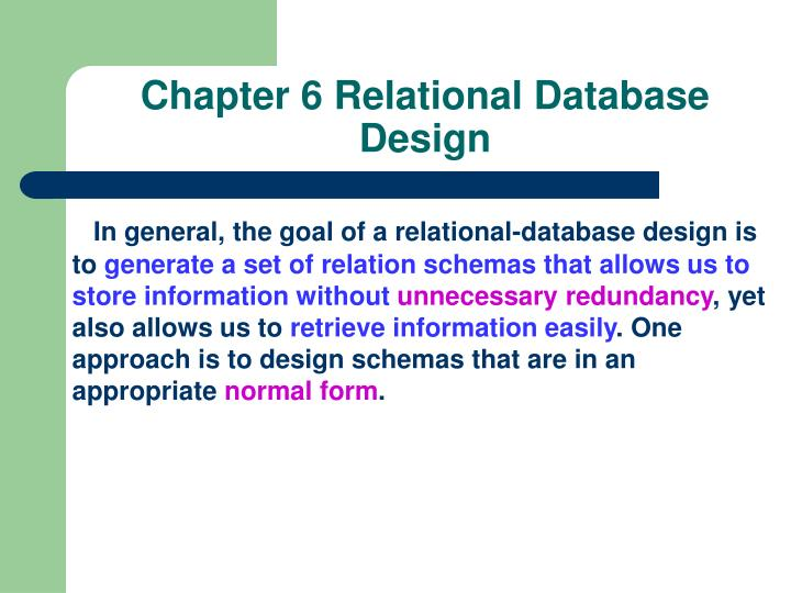 Chapter 6 relational database design1