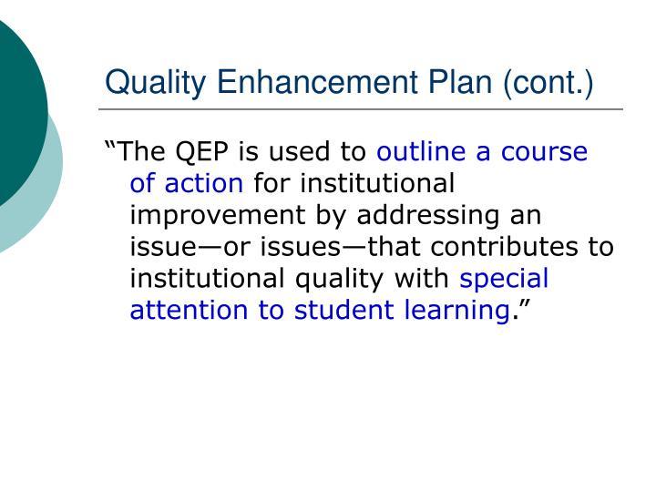 Quality Enhancement Plan (cont.)