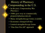 history of pharmacy compounding in the u s