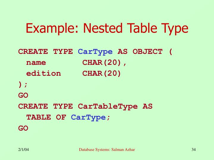 Example: Nested Table Type