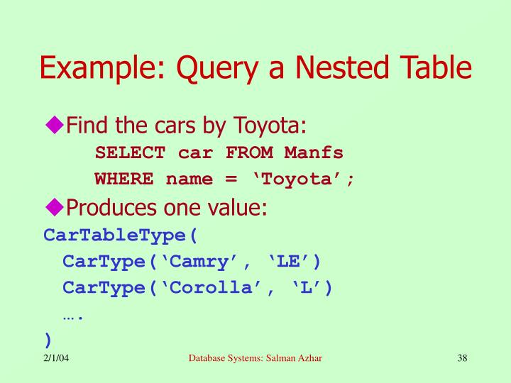 Example: Query a Nested Table