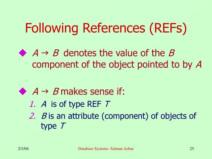 Following References (REFs)