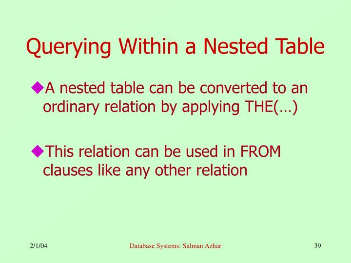 Querying Within a Nested Table