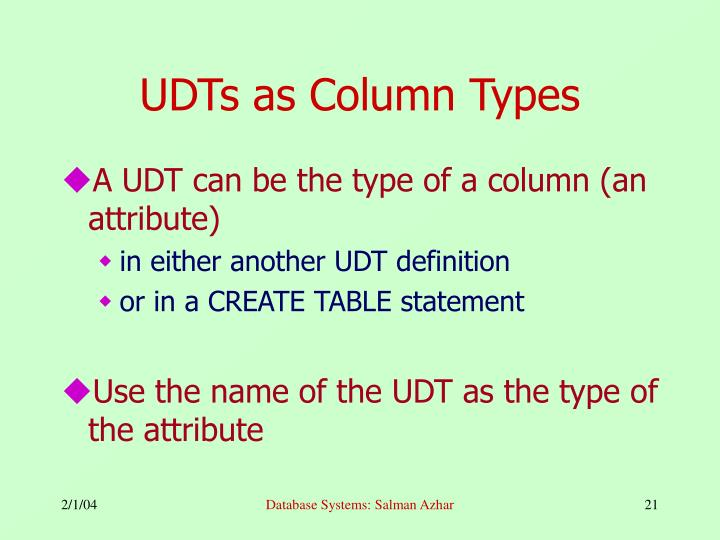 UDTs as Column Types