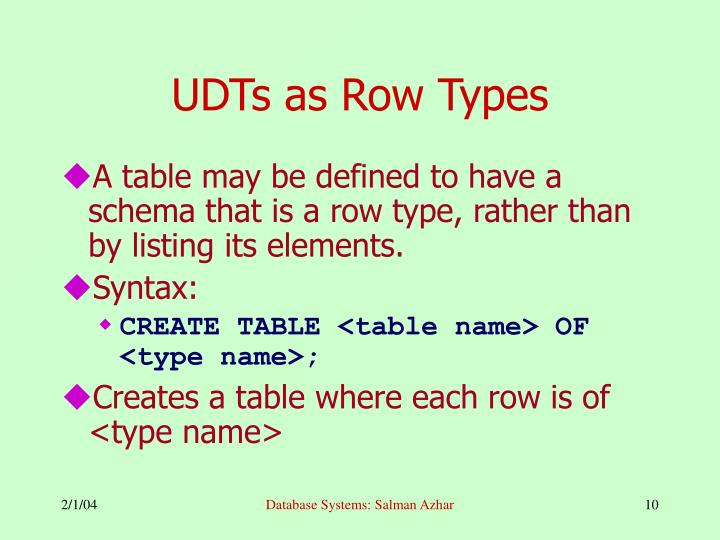 UDTs as Row Types