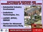 earthquake response and rehabilitation of critical lifelines