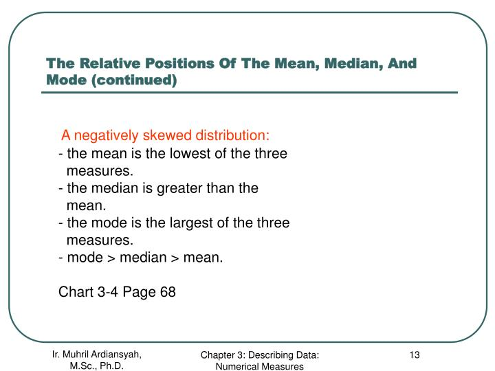 The Relative Positions Of The Mean, Median, And Mode (continued)