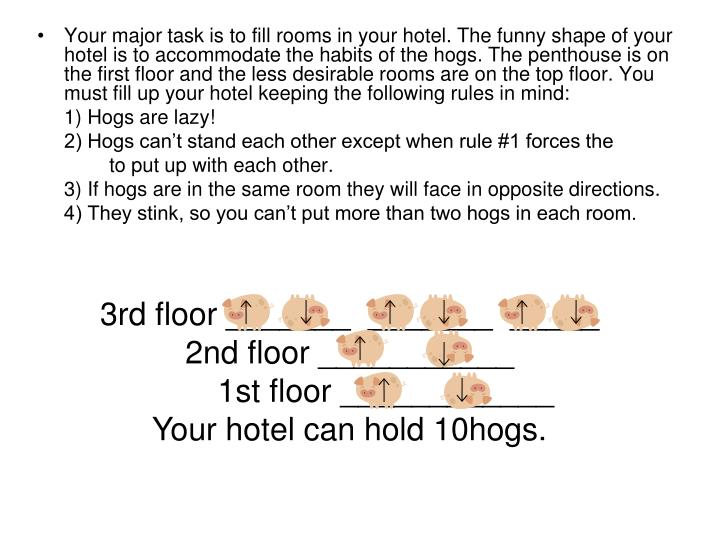 Your major task is to fill rooms in your hotel. The funny shape of your hotel is to accommodate the habits of the hogs. The penthouse is on the first floor and the less desirable rooms are on the top floor. You must fill up your hotel keeping the following rules in mind: