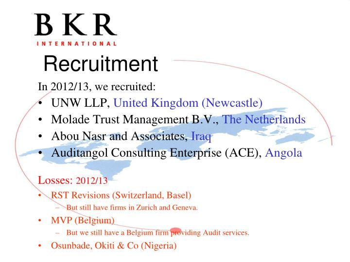 In 2012/13, we recruited: