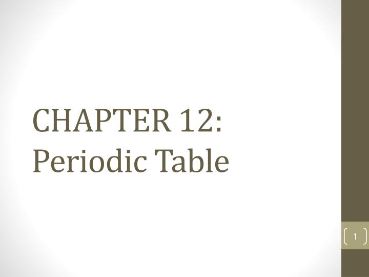 chapter 12 periodic table n.