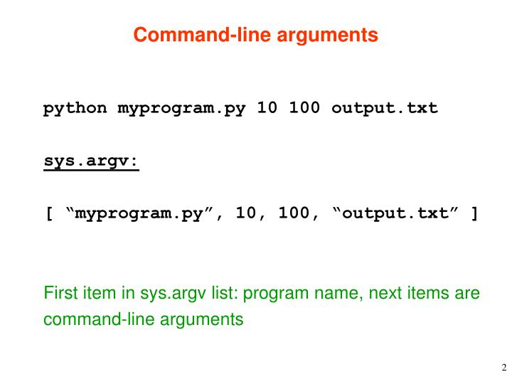 command line arguments n.