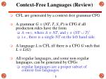 context free languages review