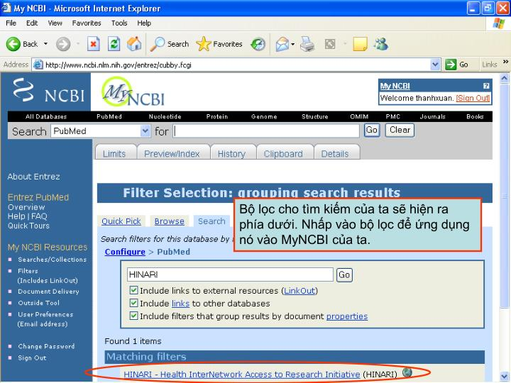 Bộ lọc cho tìm kiếm của ta sẽ hiện ra phía dưới. Nhấp vào bộ lọc để ứng dụng nó vào MyNCBI của ta.