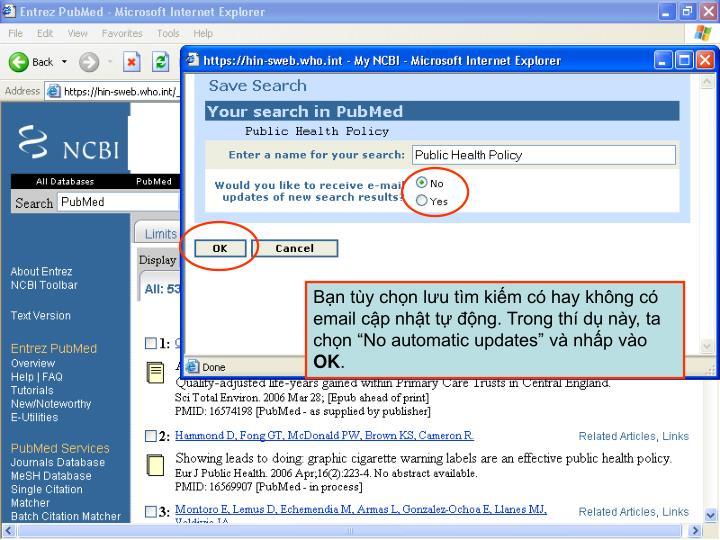 """Bạn tùy chọn lưu tìm kiếm có hay không có email cập nhật tự động. Trong thí dụ này, ta chọn """"No automatic updates"""" và nhấp vào"""