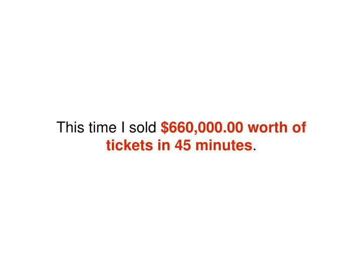 This time I sold