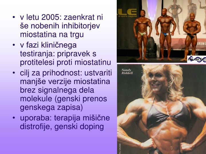 v letu 2005: zaenkrat ni še nobenih inhibitorjev miostatina na trgu