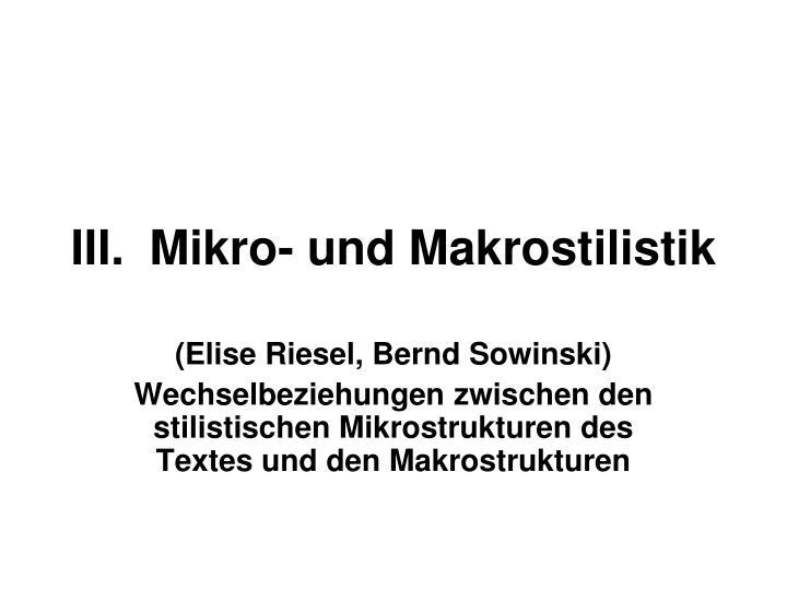 Iii mikro und makrostilistik