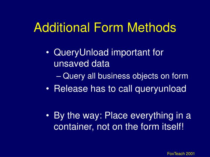 Additional Form Methods