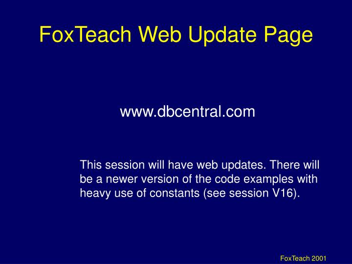 FoxTeach Web Update Page