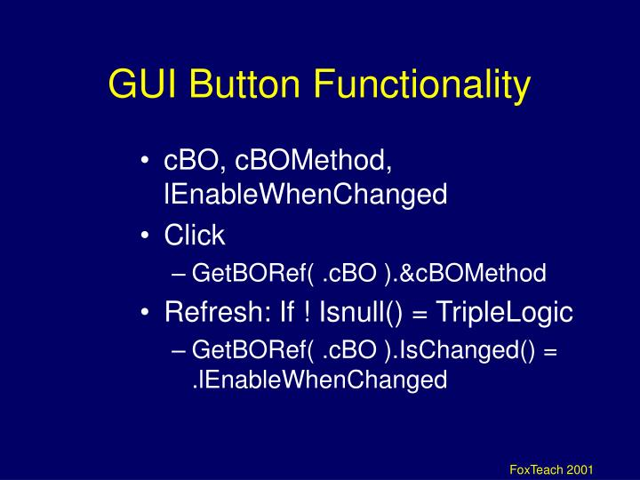 GUI Button Functionality