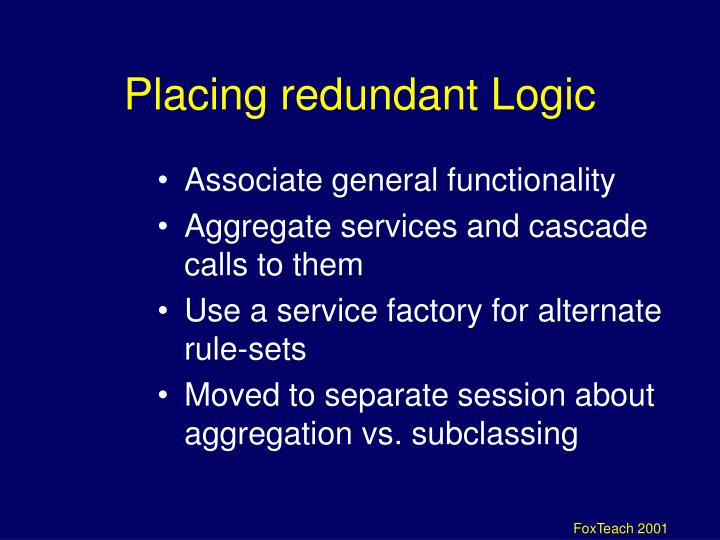 Placing redundant Logic