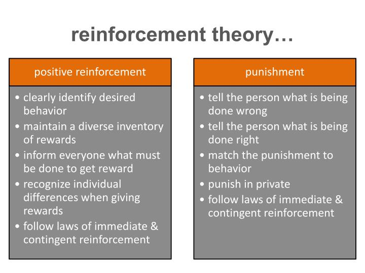 reinforcement theory essay Essay on differential reinforcement 2753 words 12 pages differential reinforcement is defined to occur when behavior is reinforced by being either rewarded or punished while interacting with others (siegel, 2003.