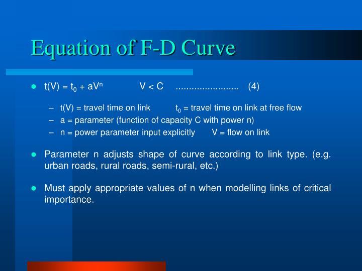Equation of F-D Curve