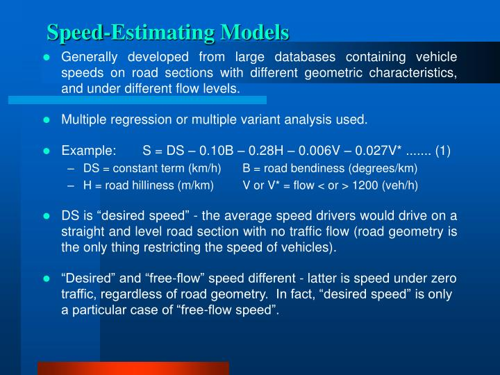 Speed-Estimating Models
