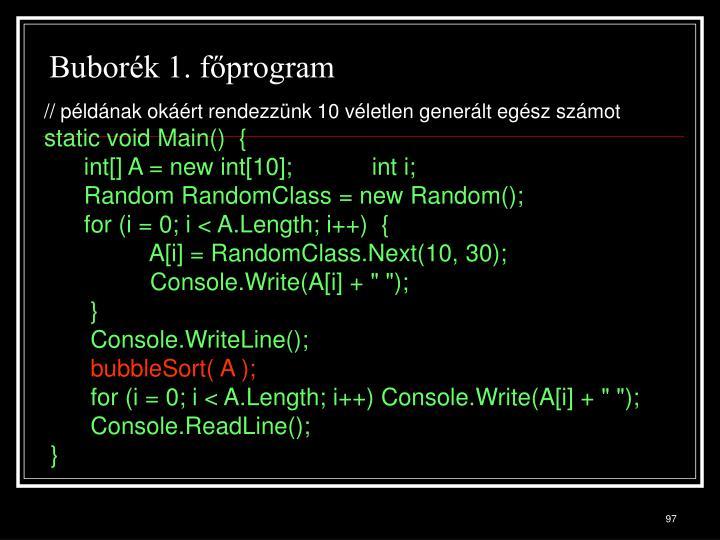 Buborék 1. főprogram