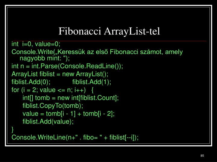 Fibonacci ArrayList-tel