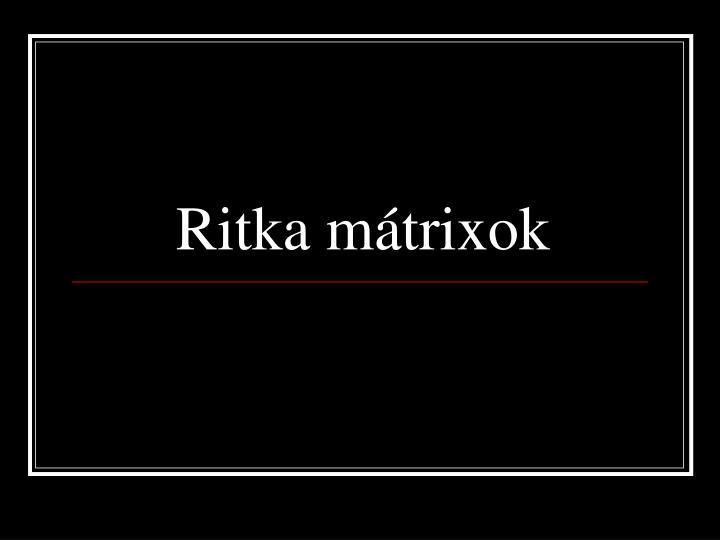 Ritka mátrixok