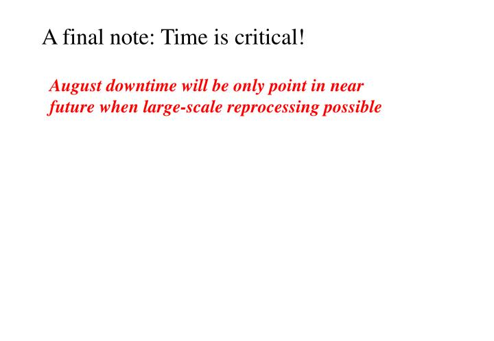 A final note: Time is critical!