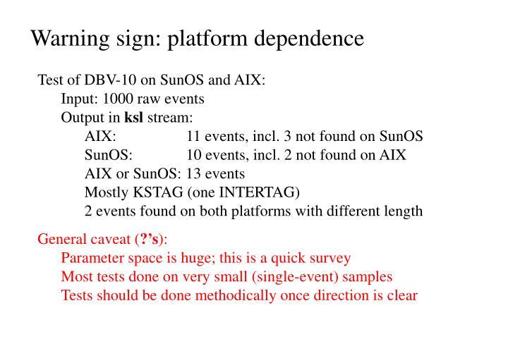 Warning sign platform dependence