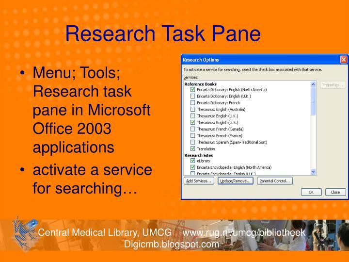 Research Task Pane