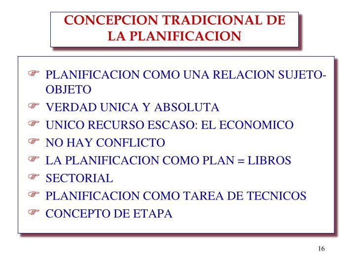 CONCEPCION TRADICIONAL DE LA PLANIFICACION