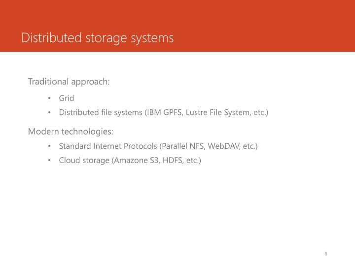 Distributed storage systems