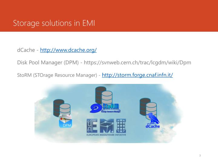 Storage solutions in emi