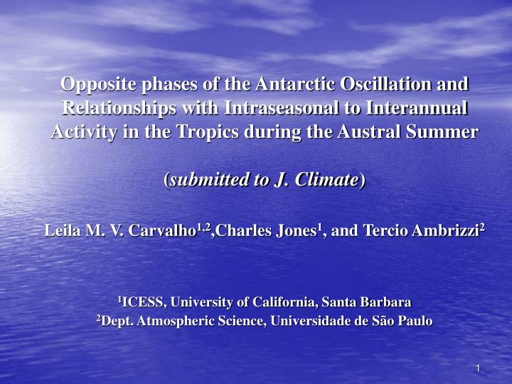 Opposite phases of the Antarctic Oscillation and Relationships with Intraseasonal to Interannual Act...