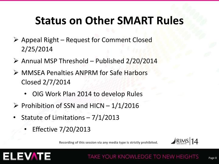 Status on Other SMART Rules