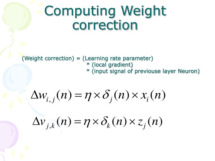 Computing Weight correction