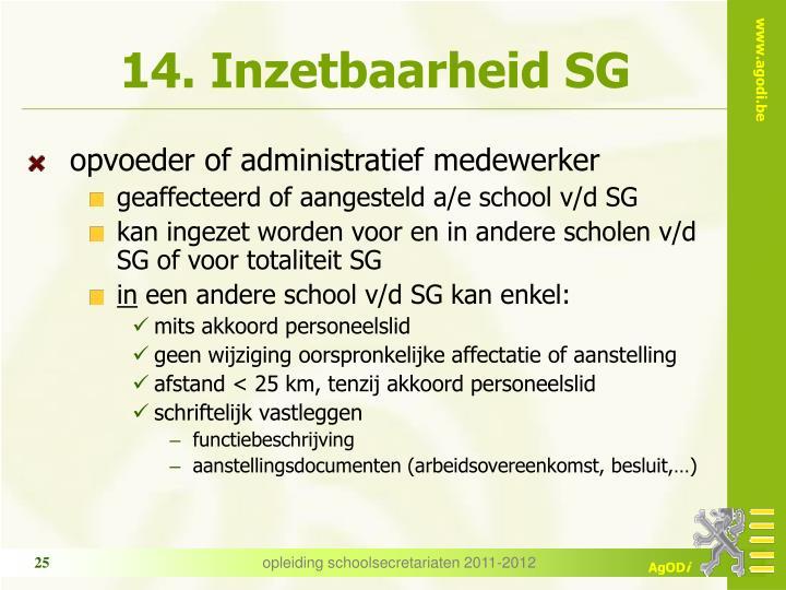 14. Inzetbaarheid SG