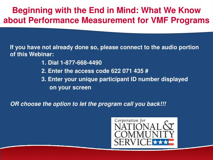 beginning with the end in mind what we know about performance measurement for vmf programs n.